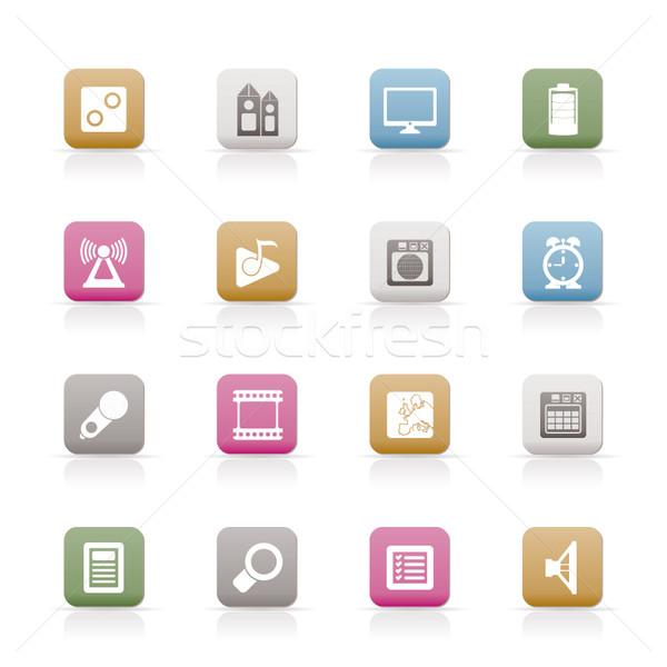 Cep telefonu performans Internet ofis simgeler vektör Stok fotoğraf © stoyanh