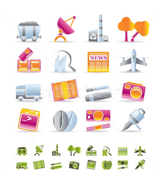 Foto stock: Negócio · indústria · ícones · vetor · livro
