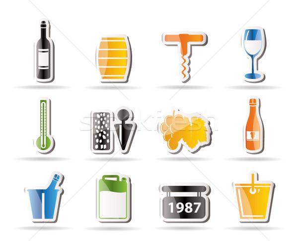 Foto stock: Vinho · beber · ícones · vetor · negócio