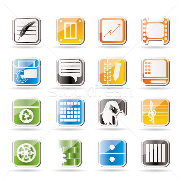 Foto stock: Simples · negócio · escritório · telefone · móvel · ícones · vetor