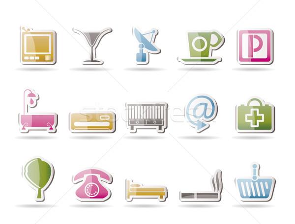 Hotel motel iconen vector kinderen Stockfoto © stoyanh