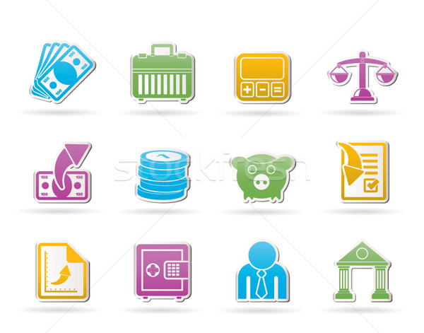 Foto stock: Banco · negocios · financiar · iconos · vector