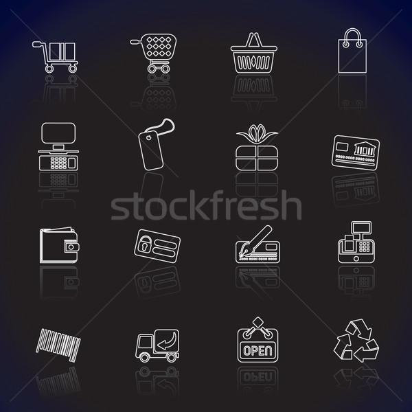 Proste online sklep ikona wektora Zdjęcia stock © stoyanh