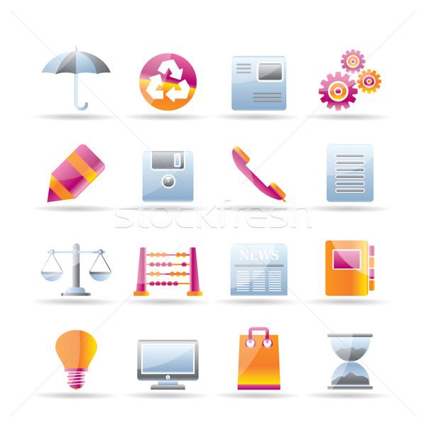 Business kantoor internet pictogrammen vector boek Stockfoto © stoyanh