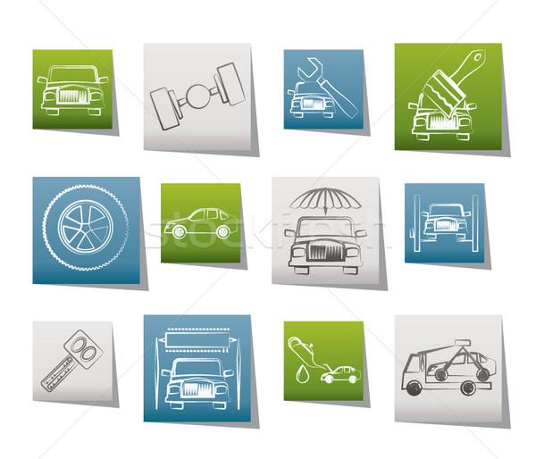 Auto dienst vervoer iconen vector Stockfoto © stoyanh