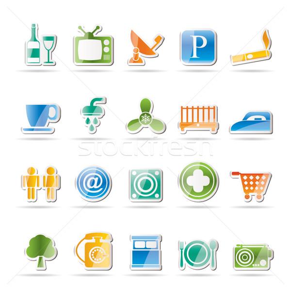 Hotel motel objecten iconen vector Stockfoto © stoyanh