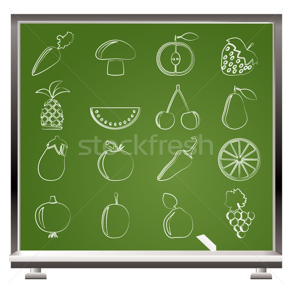 Zdjęcia stock: Inny · owoce · warzyw · ikona · wektora