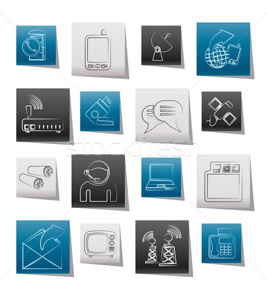 Communicatie verbinding technologie iconen vector Stockfoto © stoyanh