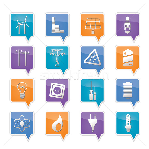Electricity,  power and energy icons Stock photo © stoyanh