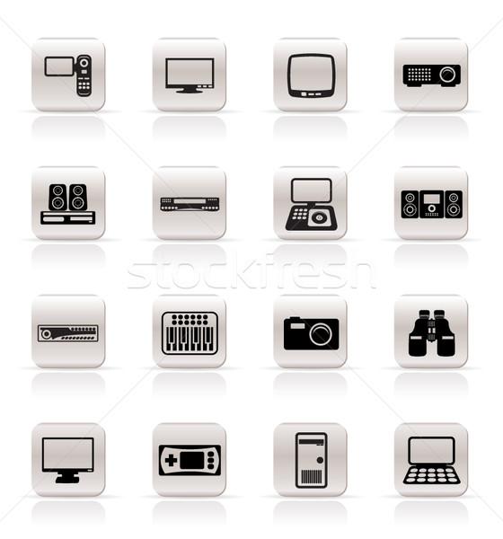 Foto stock: Simples · equipamento · ícones · vetor · negócio