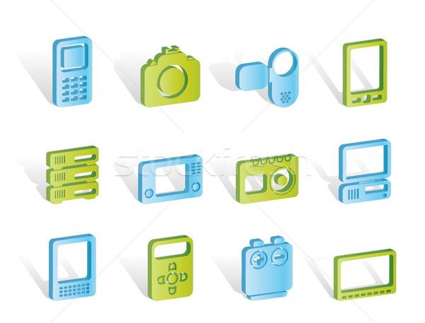 Stockfoto: Technische · media · elektronica · iconen · vector