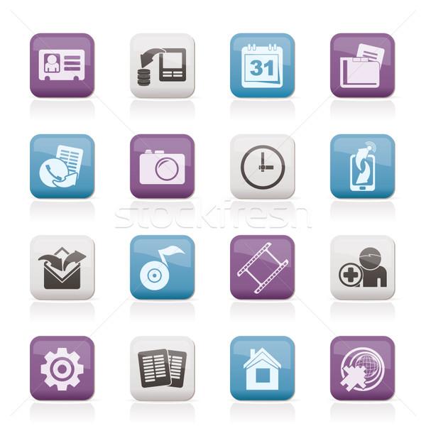 Mobile phone menu icons  Stock photo © stoyanh