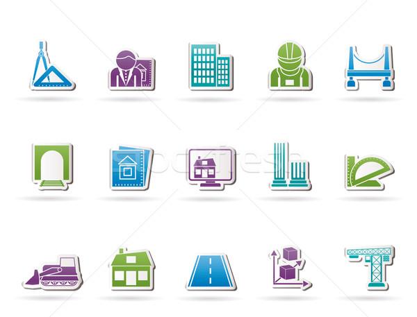 Architektury budowy ikona wektora komputera Zdjęcia stock © stoyanh
