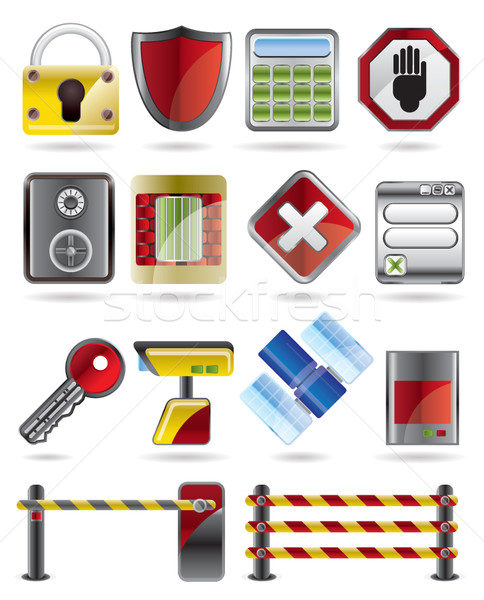 Veiligheid business iconen vector internet Stockfoto © stoyanh