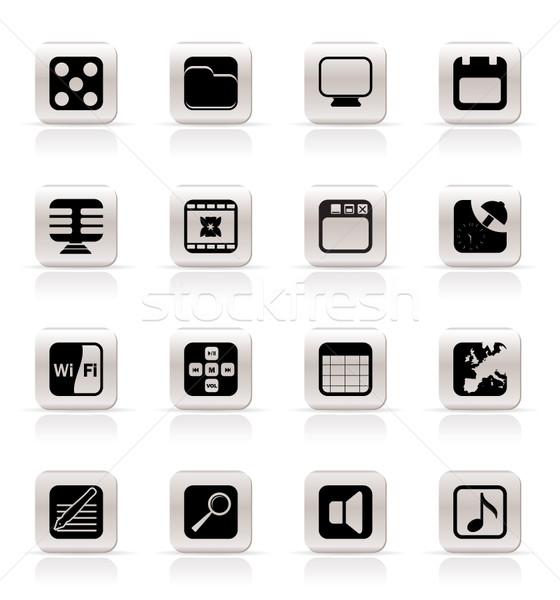 Foto stock: Telefone · atuação · internet · escritório · ícones · vetor