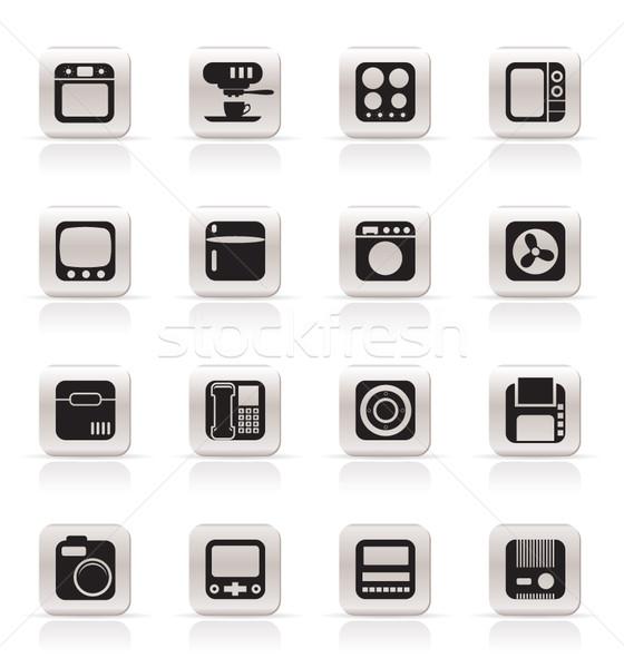 Foto stock: Simples · escritório · em · casa · equipamento · ícones · vetor