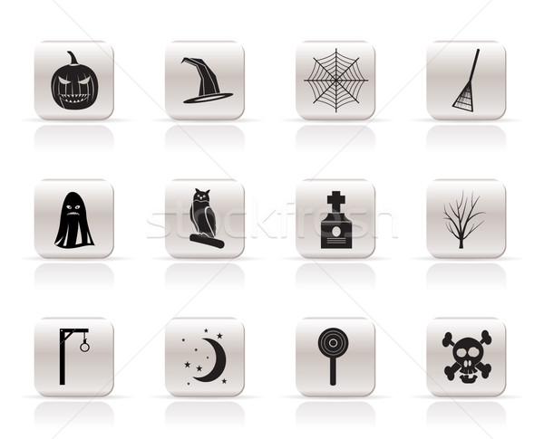 Proste halloween ikona opakowanie bat dynia Zdjęcia stock © stoyanh