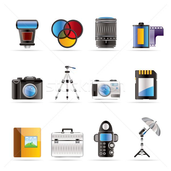 Stock fotó: Fotózás · felszerlés · ikonok · vektor · ikon · gyűjtemény · üzlet