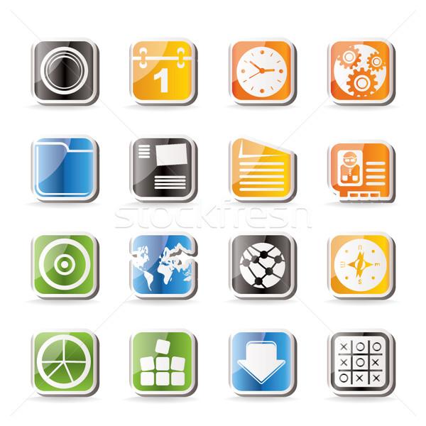 Stockfoto: Eenvoudige · mobiele · telefoon · computer · internet · pictogrammen · vector