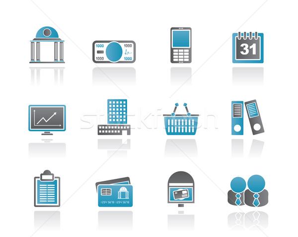 Stock fotó: üzlet · pénzügy · ikonok · vektor · ikon · gyűjtemény · telefon
