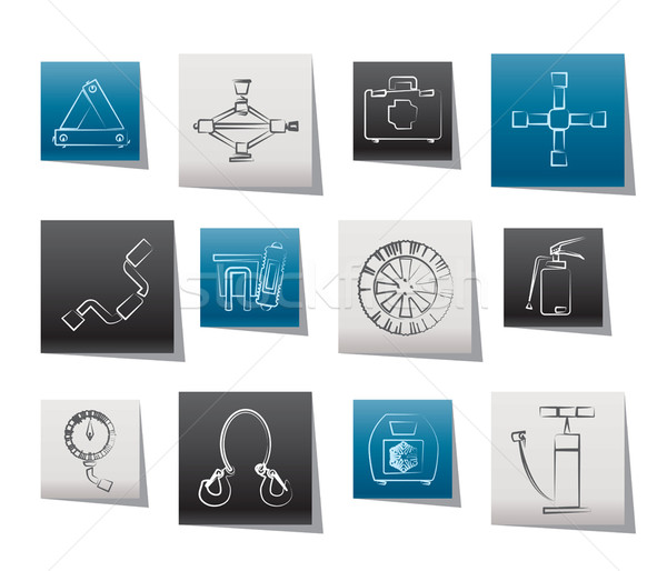 car and transportation equipment icons Stock photo © stoyanh