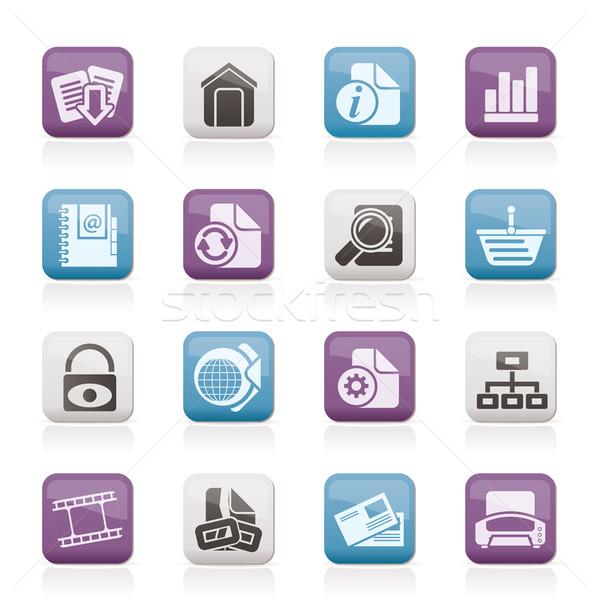 Weboldal internetes ikonok vektor ikon gyűjtemény terv háttér Stock fotó © stoyanh