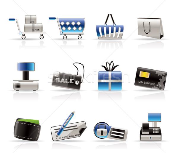 Foto stock: On-line · compras · ícones · vetor · escritório