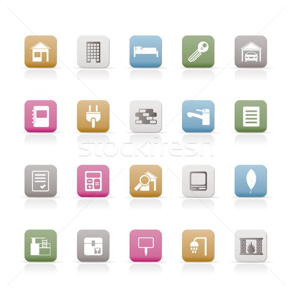 Stockfoto: Onroerend · gebouw · iconen · vector · business