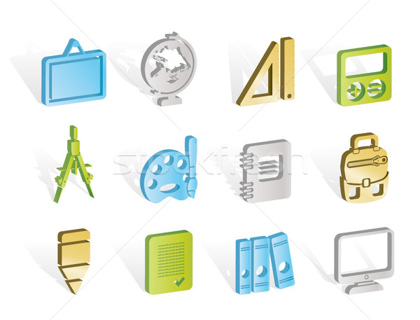 Foto stock: Escolas · educação · ícones · vetor · computador