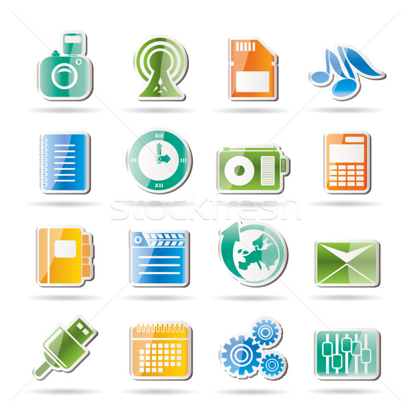 Mobile Phone Performance, Business and Office Icons  Stock photo © stoyanh