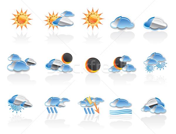 Időjárás természet ikonok vektor ikon gyűjtemény terv Stock fotó © stoyanh