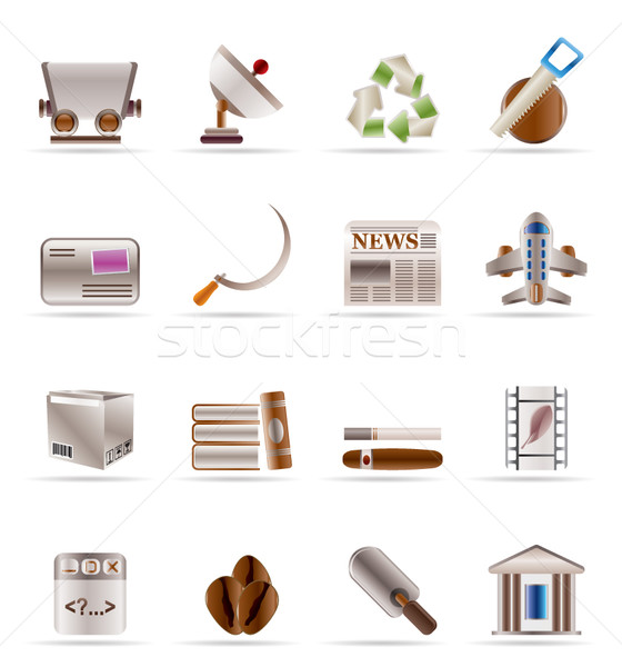 Business industrie iconen vector boom Stockfoto © stoyanh