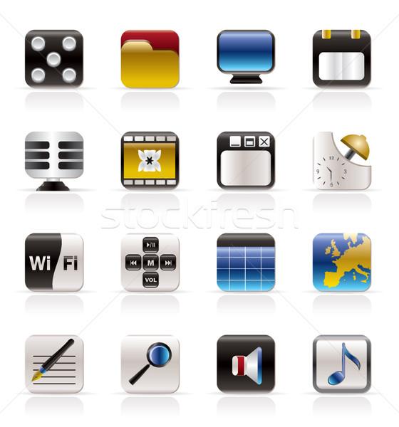 Zdjęcia stock: Telefonu · wydajność · Internetu · biuro · ikona · wektora
