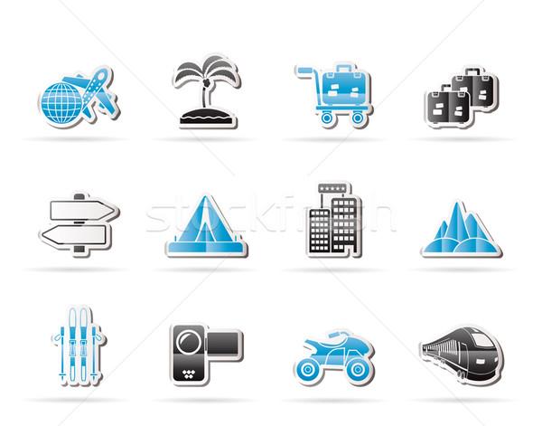 Vakantie reizen vervoer iconen vector Stockfoto © stoyanh