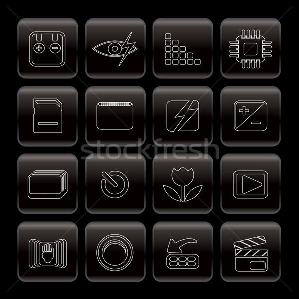 Line aparat cyfrowy wydajność ikona wektora Zdjęcia stock © stoyanh