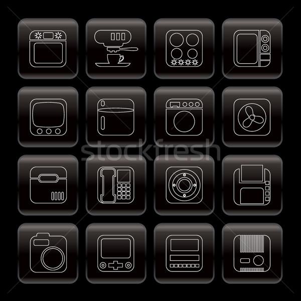 Linha escritório em casa equipamento ícones vetor Foto stock © stoyanh