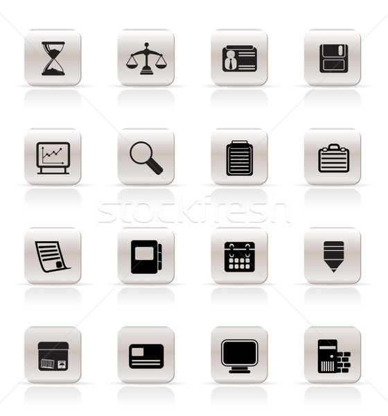 Simple negocios oficina iconos vector Foto stock © stoyanh