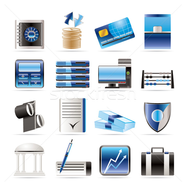 Photo stock: Banque · affaires · Finance · bureau · icônes · vecteur
