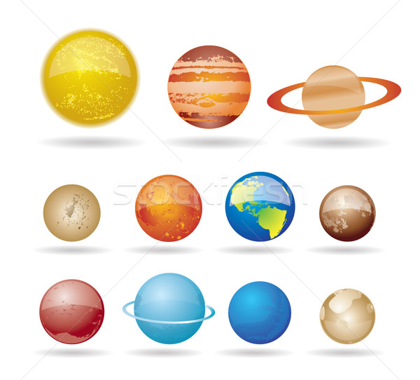 Planets and sun from our solar system. Vector illustration. Stock photo © stoyanh