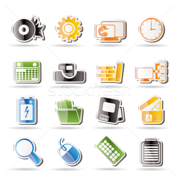 Stockfoto: Computer · mobiele · telefoon · internet · vector · business
