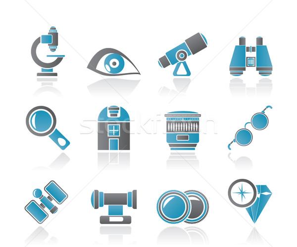 óptico lente iconos vector Foto stock © stoyanh