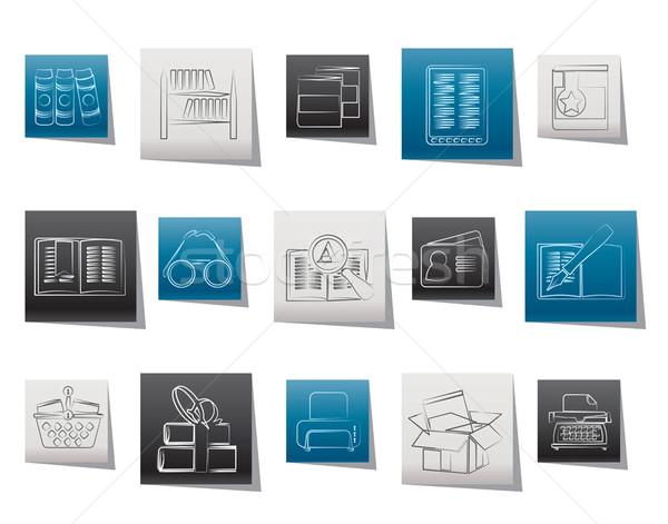 Stock fotó: Könyvtár · könyvek · ikonok · vektor · ikon · gyűjtemény · ipar