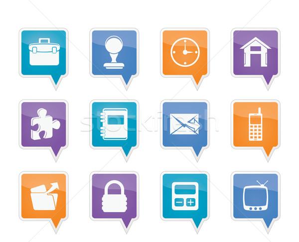 Stockfoto: Business · kantoor · iconen · vector · computer