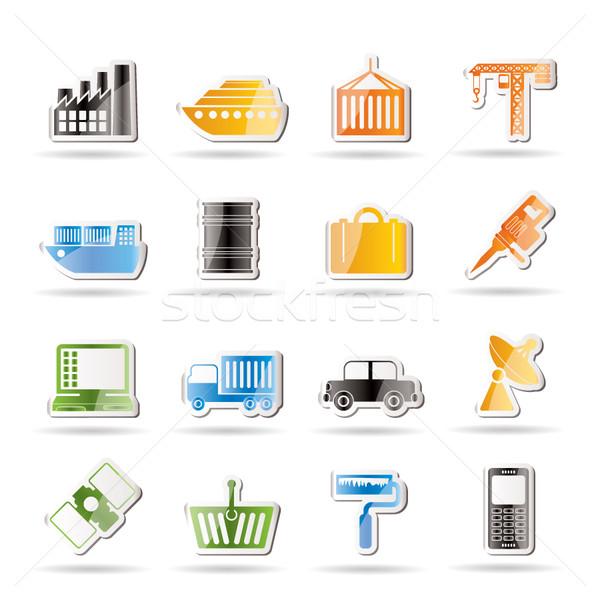Przemysłu działalności ikona wektora biuro Zdjęcia stock © stoyanh