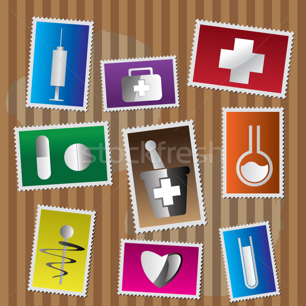 Medical and healtcare Icons - postage stamp  Stock photo © stoyanh