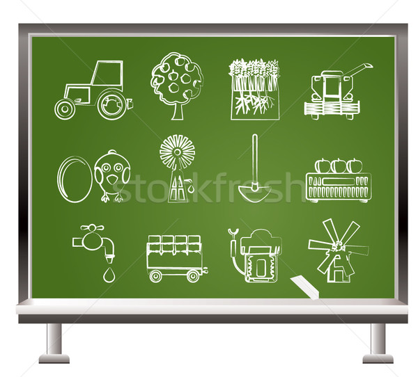 painted with chalk farming industry and farming tools   Stock photo © stoyanh