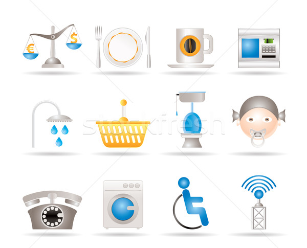 Roadside, hotel and motel services icons  Stock photo © stoyanh