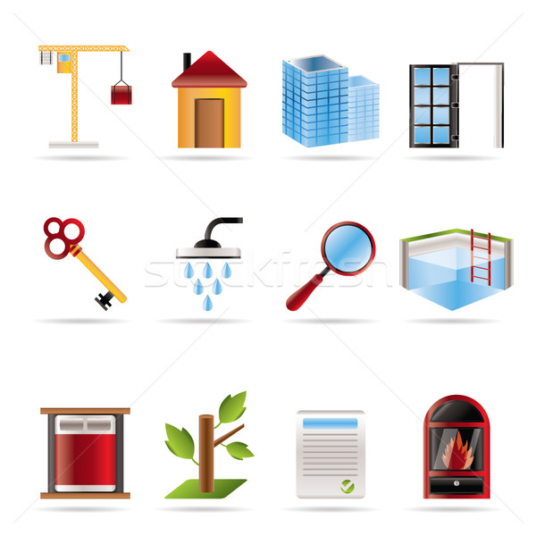 Stock photo: Realistic Real Estate icons