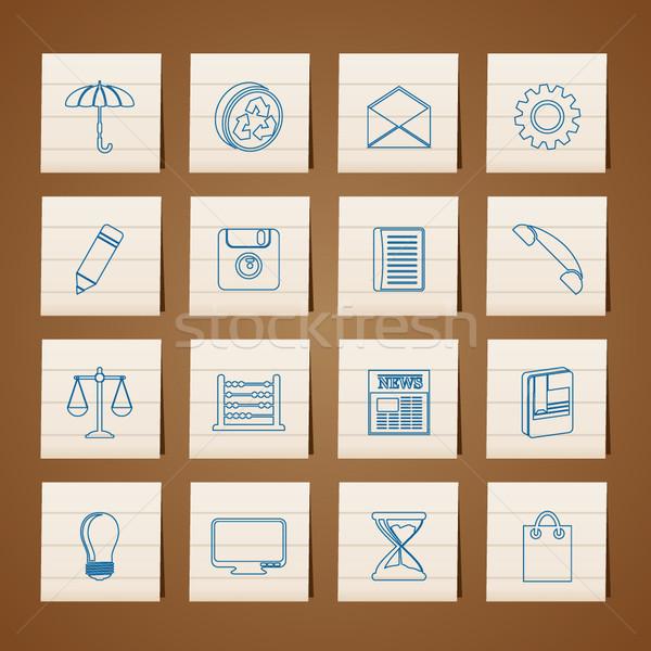 Negócio escritório ícones do internet vetor livro Foto stock © stoyanh