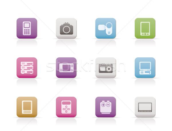 Techniczne mediów elektroniki ikona wektora Zdjęcia stock © stoyanh